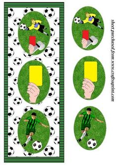 Football themed triple oval card front on Craftsuprint designed by Sharon Poore - Football themed triple oval card front with layers - Now available for download!