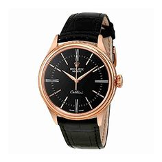 Rolex Cellini Black Dial 18 Carat Everose Gold Automatic Mens Watch 50505BKSL *** Want to know more, click on the image.