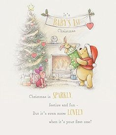 Christmas is sparkly, festive and fun-. Have the merriest Christmas. but it's even more lovely when it's your first one! Hope it's filled with cuddles and big snuggles, too, and is especially special for all of you! Winnie The Pooh Christmas, Winnie The Pooh Birthday, Winnie The Pooh Plush, Winnie The Pooh Quotes, Winnie The Pooh Friends, Vintage Winnie The Pooh, Mickey Mouse And Friends, Xmas Drawing, Christmas Drawing