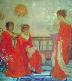"James Abbott McNeill Whistler  Red and Black  Watercolour  c1883-c1884  13 x 24.1 cm  (5.12"" x 9.49"")  Fogg Art Museum, Harvard University (Cambridge, Massachussetts, United States)"