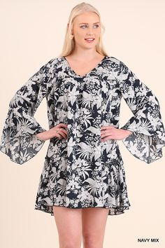 1fd54e09413d1 Umgee-WG0542 Navy floral tunic with bell sleeves available at Trees n  Trends Floral Tunic