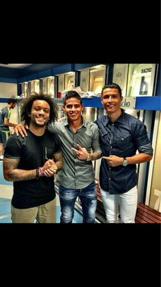 All smiles after a good win, James Rodriguez, Cristiano Ronaldo, and Marcelo take a photo before leaving the stadium.