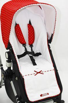 Canutillo rojo lunares combinado con nido blanco, detalle de entredós y ondulina Bugaboo, Prams, Under Armour, Backpacks, Ideas, Fashion, Camping Mats, Baby Buggy, Polka Dots