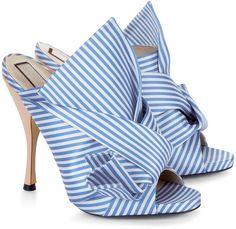 No21 Blue & White Stripe Satin Bow Mules. Mules ShoesShoes ...