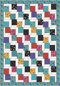 Inspiration for Maddie and Ashlyn's quilts. Very cute and easy 'Tumbling Charms' - free quilt pattern Quilt Baby, Colchas Quilt, I Spy Quilt, Quilt Blocks, Quilt Top, Charm Pack Quilt Patterns, Charm Pack Quilts, Charm Quilt, Quilt Block Patterns