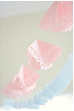 Tissue paper and doilies as bunting