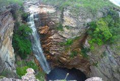 Cachoeira Do Buracão Waterfall from above Chapada Diamantina Bahia State Brazil