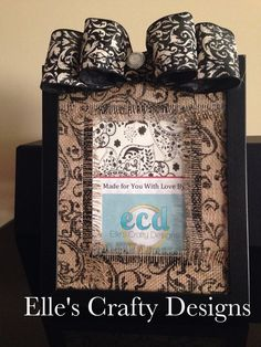 Elle's Crafty Designs - Fashionably Famous Frames - Custom Burlap Matted 5x7 Black, Cream & White with Embellished Burlap Bow on Etsy, $40.00