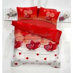 Altinbasak Lovely rosu - lenjerie de pat din bumbac ranforce - material natural bumbac 100% - model inimioare - tesatura ranforce fina si placuta la atingere (raport pret / calitate foarte bun)