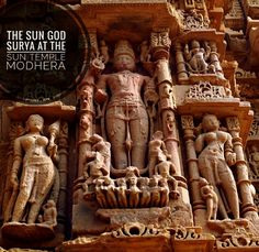 Sculpture of Surya or Sun God on his chariot at the Sun Temple in Modhera Gujarat