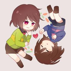 chibi chara and frisk Undertale Drawings, Undertale Memes, Undertale Cute, Undertale Ships, Undertale Fanart, Undertale Youtube, Chara, Undertale Hopes And Dreams, Kfc