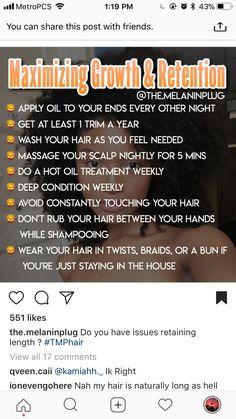 Great tips for natural hair - Hair Style Natural Hair Growth Tips, How To Grow Natural Hair, Natural Hair Regimen, Natural Hair Styles, Curly Hair Growth, Natural Haircare, Organic Hair Care, Pelo Afro, Pelo Natural