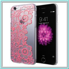 iPhone 6 - Delicate Embossed Lace on Clear Case in Assorted Colors