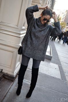 over-the-knee and cozy. (www.justjem.com) | insta/twitter @emilysklar | oversized grey sweater | over-the-knee club monaco black suede boots | grey denim | #fallstyle