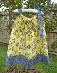Yellow and Gray Pillowcase Dress - Summer Floral Dress, Mod - Baby Pillowcase Dress - Toddler Dress - Little Girls Dress - Sizes 9m - 8