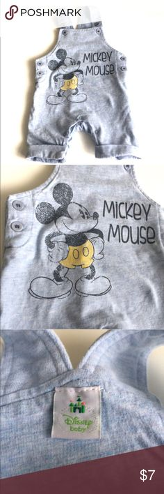 🇬🇧 Disney baby, Mickey Mouse dungarees 0-3 mths Super soft Disney Baby dungarees with vintage Mickey Mouse print in a light blue/grey. First infant size 0-3 months. Excellent condition from pet free, smoke free home Disney One Pieces