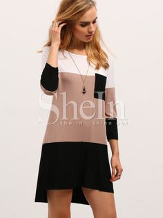 11707a858ab Shop Color Block Dress With Pocket online. SHEIN offers Color Block Dress  With Pocket   more to fit your fashionable needs.
