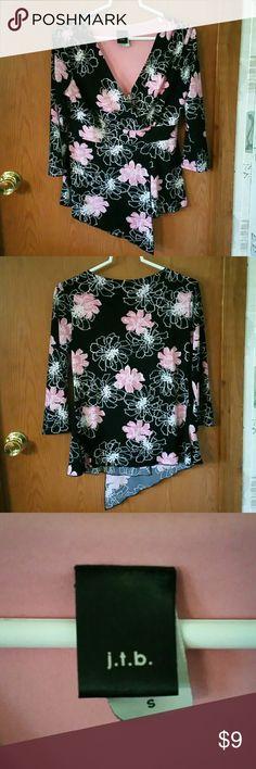 Beautiful j.t.b. dress top Beautiful black\pink\white j.t.b. dress top Size Small. j.t.b. Tops