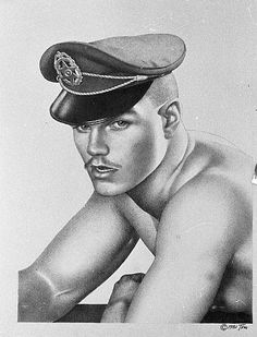 Fetish man - Tom of Finland Tom Of Finland Art, Leather Toms, Gay Comics, Art Of Man, Black And White Drawing, Male Figure, Gay Art, Pictures To Paint, Erotica