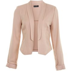 Miss Selfridge Nude Shawl Collar Blazer ($21) ❤ liked on Polyvore featuring outerwear, jackets, blazers, tops, coats, apricot, pink blazer jacket, miss selfridge, blazer jacket and pink blazer