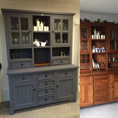 Before and after hutch dresser painted in Newton's Chalk Finish Paint in Smoke grey