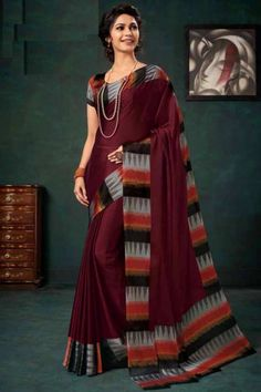 Wine chiffon saree with multi color satin blouse. Embellished with embroidery. Saree with Round Neck, Short Sleeve. It comes with unstitched blouse. Chiffon Saree, Silk Sarees, Sari, Saree Blouse, Wear Store, Traditional Sarees, Blouse Online, Saree Collection, Designer Wear