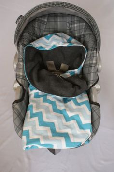 Blue Chevron flannel print Infant Carseat Swaddle by DesignsbyRomy, $35.00