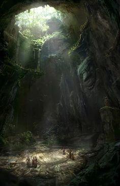 Druids Temple wilderness cave entrance underdark Party of m f Druids ruins