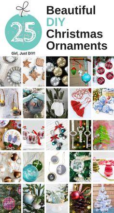 25 Beautiful DIY Christmas Ornaments – Girl, Just DIY! Christmas Art Projects, Christmas Ornaments To Make, Diy Christmas Gifts, Handmade Christmas, Holiday Crafts, Holiday Fun, Christmas Crafts, Christmas Decorations, Diy Ornaments
