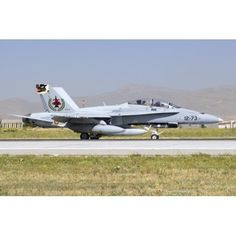 A Spanish Air Force EF-18M Hornet on the runway Canvas Art - Daniele FaccioliStocktrek Images (17 x 12)