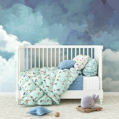 Cloudy Night Sky Wallpaper This beautiful Cloudy Night Sky wallpaper will add that WOW factor to any Sky Nursery, Nursery Room, Kids Bedroom, Nursery Murals, Lamb Nursery, Baby Room, Monkey Wallpaper, Nursery Wallpaper, Office Wallpaper