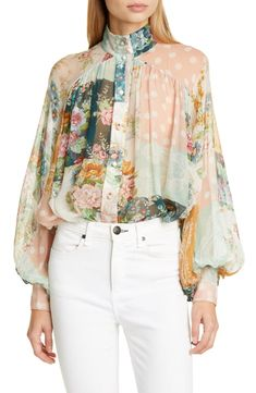 Blouson sleeves and a gathered bodice enhance the ethereal quality of this sheer silk chiffon blouse covered in vintage-inspired blooms. Style Name:Zimmermann Wavelength Floral Silk Blouse. Style Number: Available in stores. Blouse Styles, Blouse Designs, Hijab Styles, Formal Tops For Women, Sleeves Designs For Dresses, Couture Collection, Fashion 2020, Blouses For Women, Casual Dresses