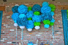 Ariel Collection: 30 Pom Poms (to create backdrop shown) for a Mermaid party  {Paperwhite Designs via Etsy}