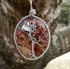 Dragon on tree of life by TheSleepyFireFly @Etsy.com Pagan Jewelry, Christmas Bulbs, Dragon, Gemstones, Holiday Decor, Random, Life, Etsy, Christmas Light Bulbs