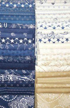 "Indigo Crossing Fat Quarter Bundle- 40 - ""The Quilted Crow Quilt Shop, folk art quilt fabric, quilt patterns, quilt kits, quilt blocks"