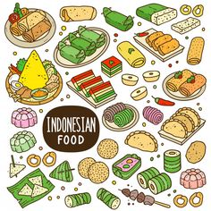 Indonesian Foods And Snack Cartoon Color Illustration Stock Indonesian Foods And Snack Cartoon Color Illustration Stock<br> Food Poster Design, Food Cartoon, Cartoon Images, Snack Recipes, Snacks, Happy Foods, Food Drawing, Indonesian Food, Kinds Of Salad