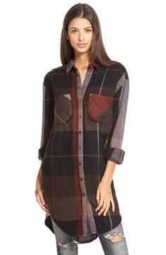"$168 - Free shipping and returns on Free People 'Street Talk' Plaid Shirt at Nordstrom.com. <p><B STYLE=""COLOR:#990000"">Pre-order this style today! Add to Shopping Bag to view approximate ship date. You'll be charged only when your item ships.</b></p><br>A supersoft weave and an effortlessly slouchy fit lend wearable ease to a plaid shirt styled with a long rounded hem."