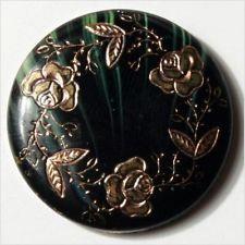 (1) 24mm Antique Czech Victorian floral rose gold gilt black green glass button