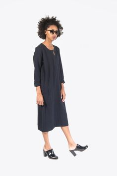Wabi Textured Henley Dress by Humanoid #kickpleat #humanoid #dress