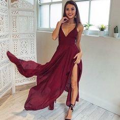 Sexy v-neck long chiffon burgundy prom dress with slit