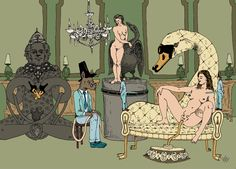 Le boudoir de Léda, Estampe Numérique, Damien MacDonald