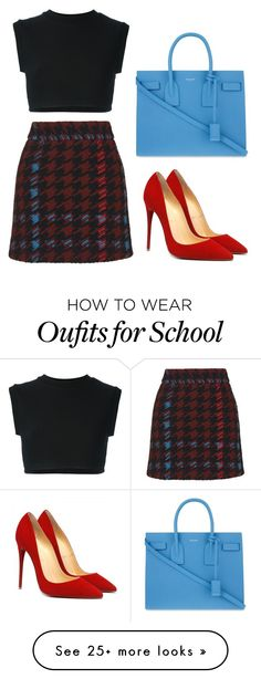 """""""Private school"""" by seventeene on Polyvore featuring adidas Originals, Topshop, Yves Saint Laurent, plaid and check"""