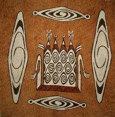 Bark paintings from Sentani, Jayapura, Papua, Indonesia.