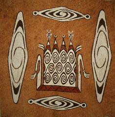 Bark paintings from Sentani, Jayapura, Papua, Indonesia.