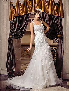 trompete / sereia tiras de trem tribunal vestido de noiva de... – BRL R$ 419,84