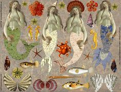 Enjoy honoring this amazing artist by putting together these colorful paper dolls. She comes complete with festive hearts, flowers, Real Mermaids, Mermaids And Mermen, Paper Dolls, Art Dolls, Fabric Dolls, Collage Kunst, Mermaid Tale, Vintage Mermaid, Merfolk