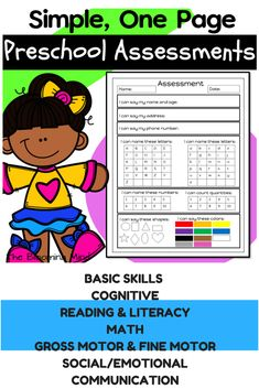 Keep track of individual learning and progress with these 15 preschool/pre-k assessment forms and checklists. These simple 1 page forms cover all preschool standards including reading readiness, math, literacy, fine motor, gross motor, social and play skills, communication, and self help skills. These are easy to complete and great to share with parents OR use as an RTI to determine strengths and weaknesses. Preschool Assessment, Math Literacy, Preschool Lesson Plans, Preschool Classroom, Kindergarten Readiness, Teacher Tools, Teacher Resources, Gross Motor, Fine Motor