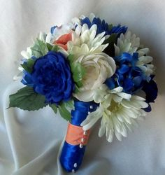 Blue Wedding Flowers for Bridesmaids | Silk Wedding Flowers Saphire blue bridal bouquet with peach accents ...