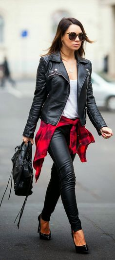 Fall Perfect Black with a Pop of Red Plaid #legs