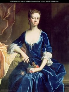 Portrait of a Lady in a Blue Velvet Dress - (attr. to) Jervas, Charles
